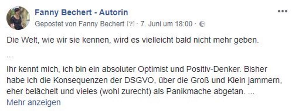 Facebook-Post zum Thema DSGVO von Fanny Bechert